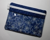 Blue Floral Zipper Pouch, Vinyl Pouch, Cell Phone Case, Gadget Case, Makeup Bag, Purse Organizer, Coin Purse, USB Case, Card Case