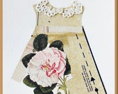 Paper Dress, collage, mixed media, pink rose, 9x12 inches