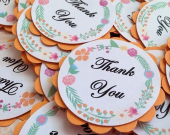 Floral Flowers Thank You Tags Pack of 10