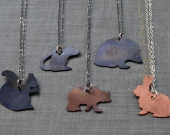 Animal Necklace- squirrel, mouse, bear, hedgehog or rabbit