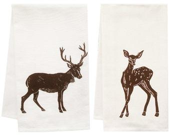 darling deer organic tea towel set