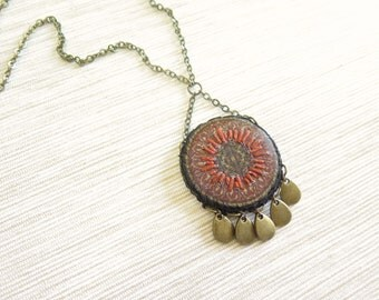 Red Mandala Necklace - Istanbul Collection - by Loschy Designs