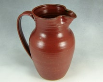 Large Rust Red Pitcher Hand Thrown Stoneware Pottery 2