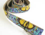 Yoga Mat Strap - Aqua Lavender and yellow floral
