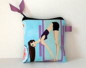 Yoga Girl Forward Bend Tech Pouch,Cosmetic Bag or Coin Purse with Orchid Purple