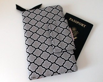 Travel Organizer Wallet, Passport cover, Ladies Wallet,  Black and Gray Lattice print, red lining, plane ticket wallet, womans wallet