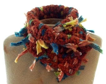 Crochet and Woven rust and multi colors neck scarf