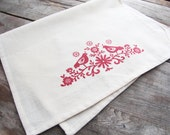 Hand-Printed Folky Birds Cotton Tea Towel with hanging loop, made in the USA, gift, housewarming, hostess, kitchen towel, silkscreen pattern
