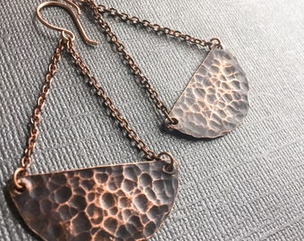 Hammered Oxidized Copper Earrings