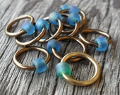 Dangle Free Knitting Stitch Markers Brass Bronze Sapphire Blue Seafoam Choose Ring Size, Quantity Knitting In The Round Option
