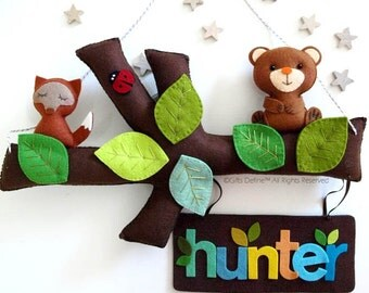 My TREE STORY and Pets, Personalized Name Banner, Custom Wall Art, Handmade Wall Decor for Children Bedroom, Playroom or Baby Nursery Decor