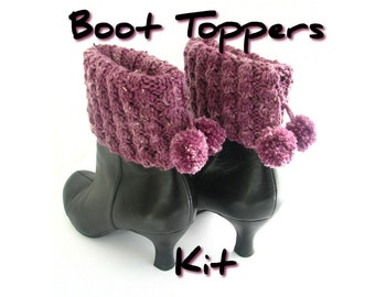 DIY knit kit, boot toppers knitting kit, boot cuff pattern, hand dyed yarn, gift boxed, choose your colour, knitters gift, uk seller
