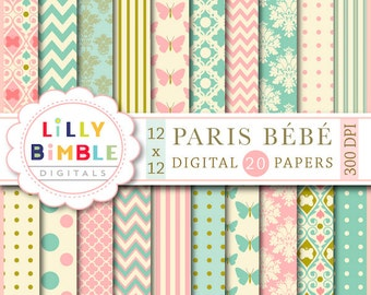 60% off PARIS BEBE digital papers in teal and salmon pink, modern scrapbook papers for cards, crafts and design elegant Digital Download