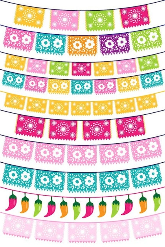 50% off sale Fiesta Bunting Clipart Picado for cards, invites, scrapbooking, Commercial Use included