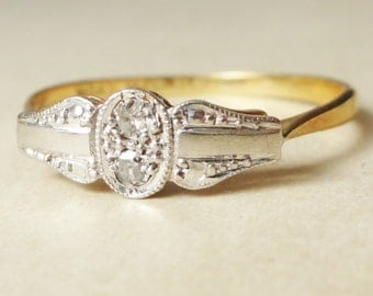 Art Deco Cameo Framed Twin Diamond Ring, Diamond 18k Gold and Platinum Engagement Ring Approx. Size US 8.25