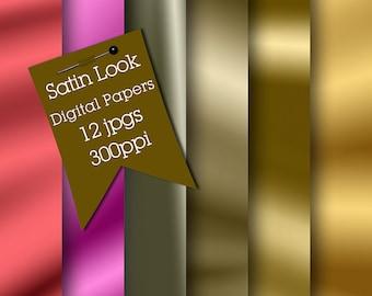 Satin Digital Papers, Digital Scrapbooking Papers, Digital Scrapbook Backgrounds, Satin Look Digital Papers, JPG Backgrounds, Digital Papers