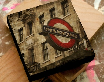 Husband Gift for Men- English Gifts for Him- London Underground Sign No. 3- Art Block- London Art- London Gifts for Wife
