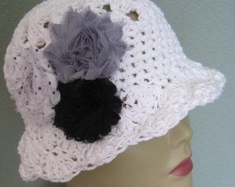 NWT Natural Cotton Cloche Hat Flowers Sun Black White Gray Dot Fedora Knit