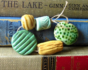 Large Lentil Bead Ceramic Bead Bundle Green Blue Amber Cream