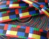 Building blocks  grosgrain ribbon 5 yards