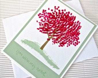 You warm my heart card tree handmade stamped  love anniversary Valentine friendship green pink stationery greeting home living