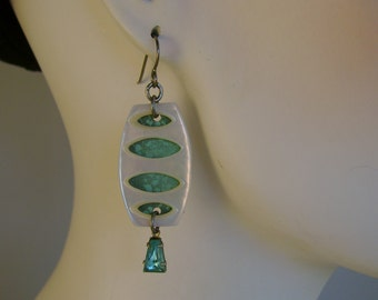 Pearly Gates - Vintage Turquoise Tin Mother of Pearl Buckles Niobium Recycled Repurposed Jewelry Earrings - Ten Year Anniversary Gift