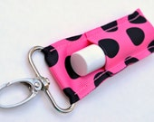 Chapstick Holder, Lip Balm Key Fob, Chapstick Keychain, Clip-On Lip Balm Holder, Pink with Black Dots