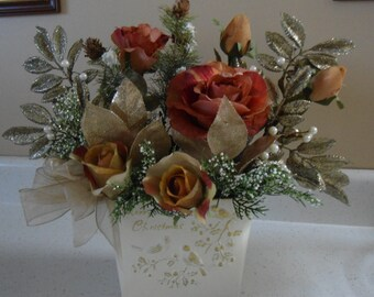 Christmas Roses Silk Floral Arrangement in Lovely Holiday Tin