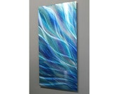 Aqua Blue Handpainted Abstract Metal Sculpture - Modern Art - Panel Painting - Colorful Plumage Home Decor Wall Accent - Glory by Jon Allen