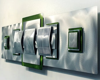 Silver & Green Abstract Metal Art - 3D Handmade Modern Metal Wall Sculpture - Squares Geometric Accent - Lime Medallion by Jon Allen