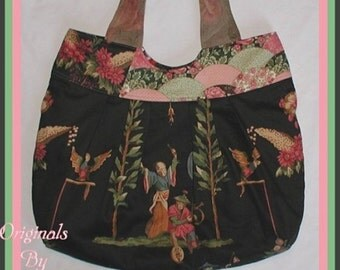 Chinese Tote Oriental Diaper Bag Extra Large Asian Decorator Fans Oriental Fan Black Red Floral Flowers Pockets