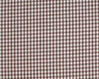 Brown White Fabric Gingham Check Checks Cotton Quilting Weight 65 x 45