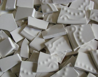 Mosaic Tiles Mix Broken Plate Art Hand Cut Pieces Pottery China Solid Fillers 100 White Texture Rose