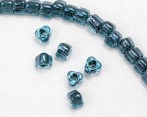 5/0 Aqua Lined Teal Luster Miyuki Triangle Seed Bead (20 gram) #TC1830