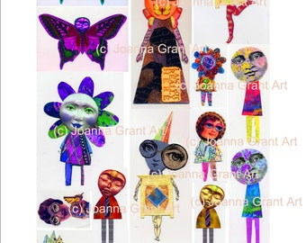 FUNKY CHARACTERS Digital INSTANT Download Collage Sheet Mixed Media Art