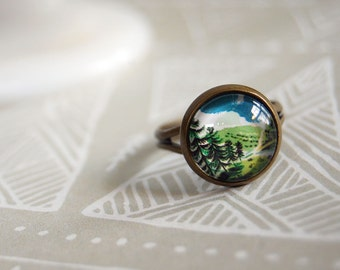 tiny forest adjustable aged brass ring- miniature landscape- pacific northwest