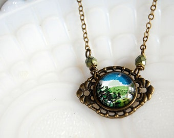 tiny forest miniature scene necklace- czech glass bead accent- pacific northwest