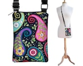 Cell Sling iPhone 6 Case Smartphone Cell Phone Shoulder Bag iPhone 4, 4s, 5 Women's Cell Phone Case  funky paisley black RTS