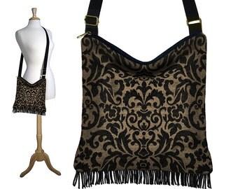 Cross Body Hobo Bag,  Bohemian Hippie Bag, Boho Fringe Purse,  Tapestry Handbag, Crossbody Purse,  damask black brown  RTS