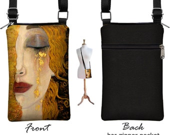Cell Phone Case for iPhone 6 / Plus, Smartphone Phone Purse, Small Cross Body Bag, Gustav Klimt Freya's Tears Art Deco  RTS