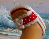 "Doll Sandals for 18"" dolls and 13-14"" dolls and 14.5"" dolls (You Choose Size) Red Lace and Ribbon Medley"
