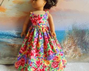 Sundress for 18 Inch Dolls Floor Length Bright Flowers Sewgrandmacathy