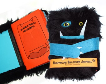 Nightmare Snatcher children's fuzzy magical journal- black and blue anxiety monster book Fribbler