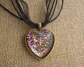Pink Sparkle Pendant with Adjustable Necklace