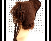 Brown Knitted Hat Womens Hat, Knit Pixie Hat, Brown Hat, Crochet Winter Hat, Mermaid of Atlantis Pixie Hat