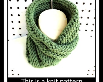 Knitting Pattern Knit Infinity Scarf Pattern, Knit Cowl Pattern, Mobius Scarf Pattern, Knit Scarf Pattern, BOA