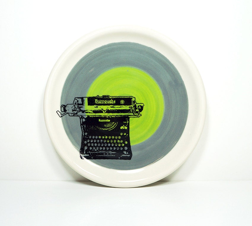 little plate burroughs in colour block of storm grey & leaf green. Made to Order.