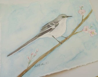 Northern Mockingbird Watercolor Painting, Original Bird Watercolor Painting, Watercolor Nature Art, Songbird Painting, 8 x 10 inches