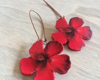 Red Hibiscus Earrings, Flower Earrings, Red Earrings, Dangle Earrings