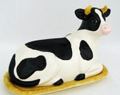 Spotted Cow Butter Dish Tray and Lid White and Black Spots Simply Bovine